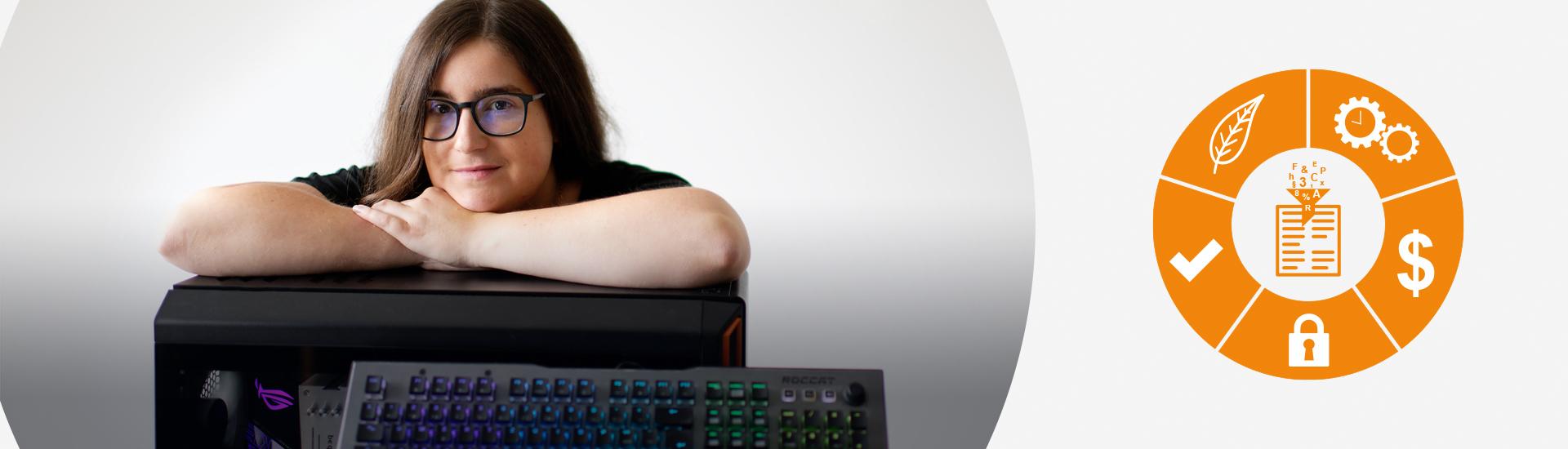 Headerbild Diction-Mitarbeiterin mit Technologien
