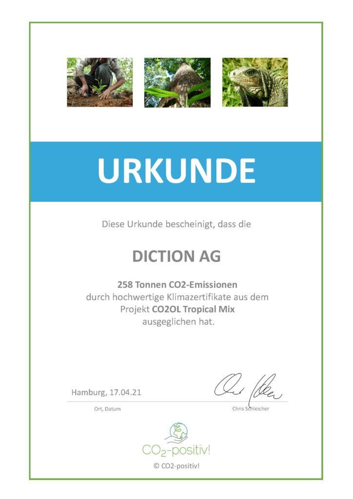 Nachhaltigkeit_Urkunde Diction ist klimaneutral